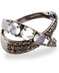 Siena Jewelry - Moonstone & Diamond Ribbon Ring - Lyst