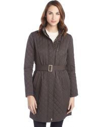 Cole Haan Java Brown Cotton and Nylon Blend Quilted Zip Front Belted Coat - Lyst