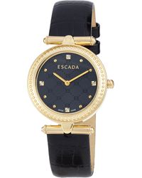 ESCADA - Croc-embossed Ion Gold-plated Two-hand Vanessa Watch - Lyst