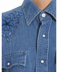Bliss and Mischief Face Of The Desert Embroidered Shirt - Blue