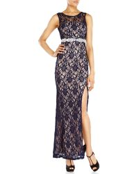 City Triangles Navy Lace Illusion Gown - Lyst