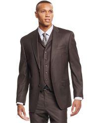 Sean John - Olive Pindot Vested Classic-fit Suit - Lyst