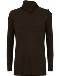 Ralph Lauren Blue Label Slit Turtle Neck Sweater - Lyst