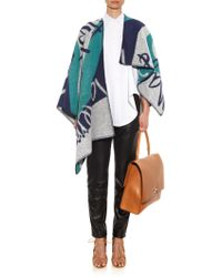 Burberry Prorsum - Book Cover-Print Wool And Cashmere-Blend Poncho - Lyst