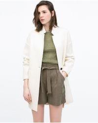 Zara Wool Coat beige - Lyst