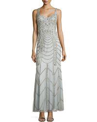 Aidan Mattox Sleeveless Sweetheart Sequined Gown - Lyst