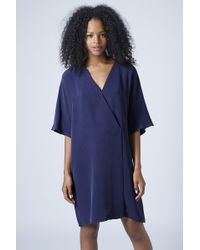 Topshop Kimono Wrap Dress by Boutique - Navy Blue - Lyst