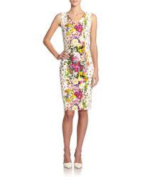 Carolina Herrera Confetti Floral-Print Sheath - Lyst