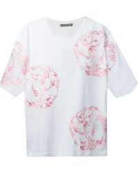 Alexander McQueen Floral Embroidered T-Shirt - Lyst