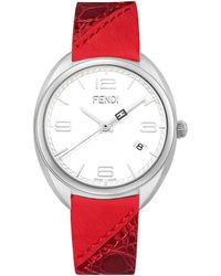 Fendi Momento Stainless Steel, Alligator & Leather Strap Watch red - Lyst