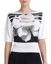 Carolina Herrera Digital-Print Flower Sweater - Lyst