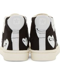 Play Comme des Garçons Black And White Heart Print Converse Edition High_Top Sneakers - Lyst