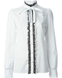 Dolce & Gabbana Lace Trim Ruffled Shirt - Lyst