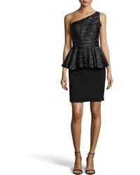 Halston Heritage Shadow-stripe Peplum One-shoulder Dress - Lyst