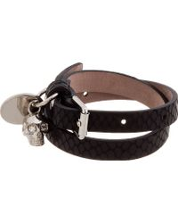 Alexander McQueen Black Snakeskin Wrap Bracelet - Lyst