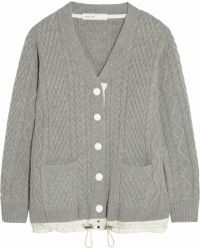 Sacai Luck Cableknit Wool Cardigan - Lyst