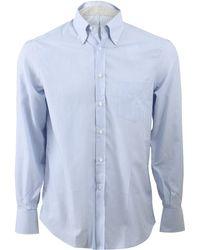 Brunello Cucinelli Striped Button Down Shirt blue - Lyst