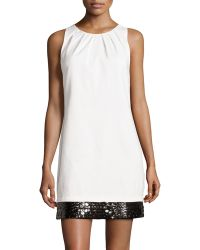 Halston Heritage Bead-embellished Sateen Shift Dress - Lyst