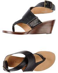 Chloé Black Thong Sandal - Lyst