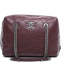 Chanel Pre-Owned Burgundy Lambskin Quilted Bowling Bag - Lyst