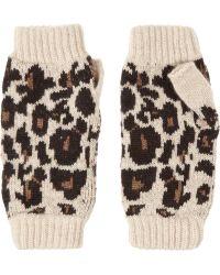 Rosie Sugden Cashmere Leopard-print Fingerless Gloves - Multicolor