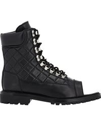 Balmain Quilted Open-Toe Boots - Lyst