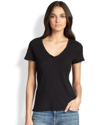 James Perse Cotton V-Neck Tee - Lyst