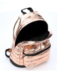 BCBGeneration - Rose Gold Coated Cotton 'Tricky' Quilted Backpack - Lyst
