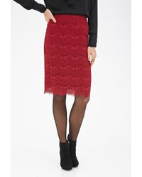 Forever 21 Scalloped Lace Pencil Skirt - Lyst