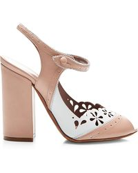 Tabitha Simmons Kitty Perforated Two-Tone High-Heel Mary Jane Sandals - Lyst
