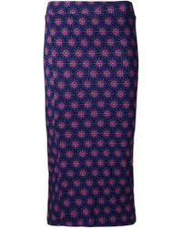 House of Holland Flower Print Pencil Skirt - Lyst