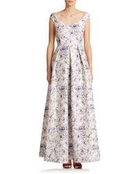 Kay Unger Floral Off-Shoulder Gown - Lyst