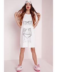 Missguided Lingerie Night Shirt White