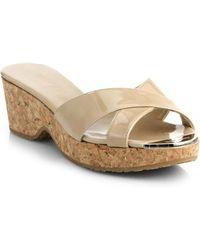 Jimmy Choo Panna Patent Leather Cork Wedge Slides - Lyst