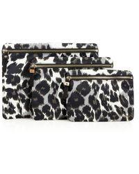 Diane von Furstenberg Voyage Leopard-Print Nylon Cosmetic Pouch Trio - Lyst