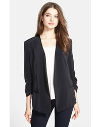 DKNY Ruched-Sleeve Open-Front Blazer - Lyst