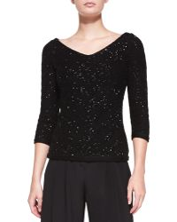 Carolina Herrera V-neck Sequined Chevron Sweater - Lyst