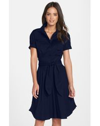 Cynthia Steffe 'Maya' Tie Waist Fit & Flare Shirtdress blue - Lyst