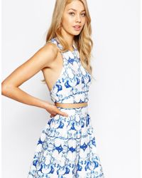 Ginger Fizz | Remember Paris Crop Top In Mirror Print With Cross Back Detail | Lyst