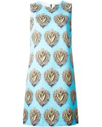 Dolce & Gabbana 'Sacred Heart' Print Brocade Dress blue - Lyst