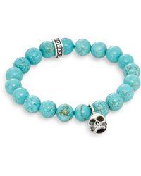 King Baby Studio Turquoise & Sterling Silver Beaded Skull Charm Bracelet blue - Lyst