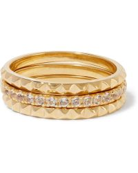 Elizabeth and James - Set Of Three Delgado Gold-plated Topaz Rings - Lyst