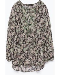 Zara Tie Neck Printed Blouse - Lyst