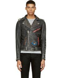 Diesel Black Distressed Studded Leather L_sneh Biker Jacket - Lyst