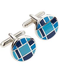 Link Up Checkered Button Cuff Links - Lyst