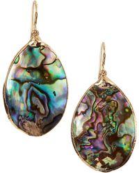 Devon Leigh Abalone Shell Oblong Earrings - Lyst