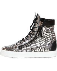 Giuseppe Zanotti Homme Croc Embossed Metallic Leather Sneakers - Lyst