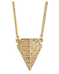 Rebecca Minkoff Gold Pave Crystal Blade Pendant Neklace - Lyst
