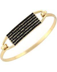 BCBGeneration - Goldtone Jet Stone Bangle Bracelet - Lyst