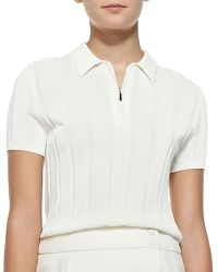 Jason Wu Ribbed Knit Polo Top with Zip - Lyst